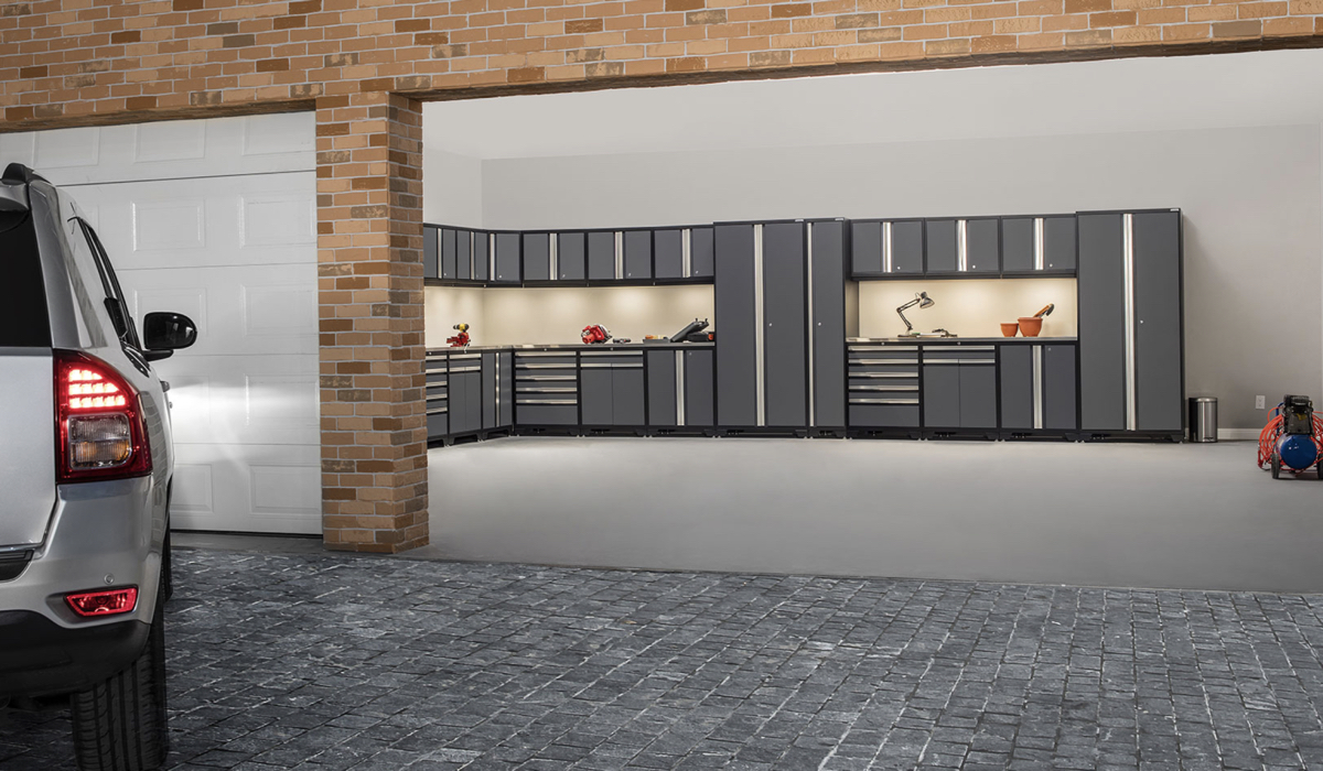 garage with gray color cabinets