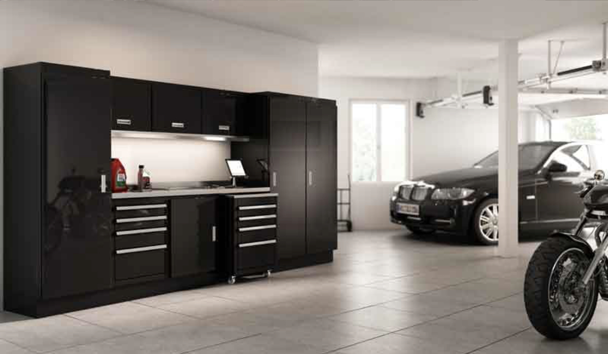 black cabinets and vehicles