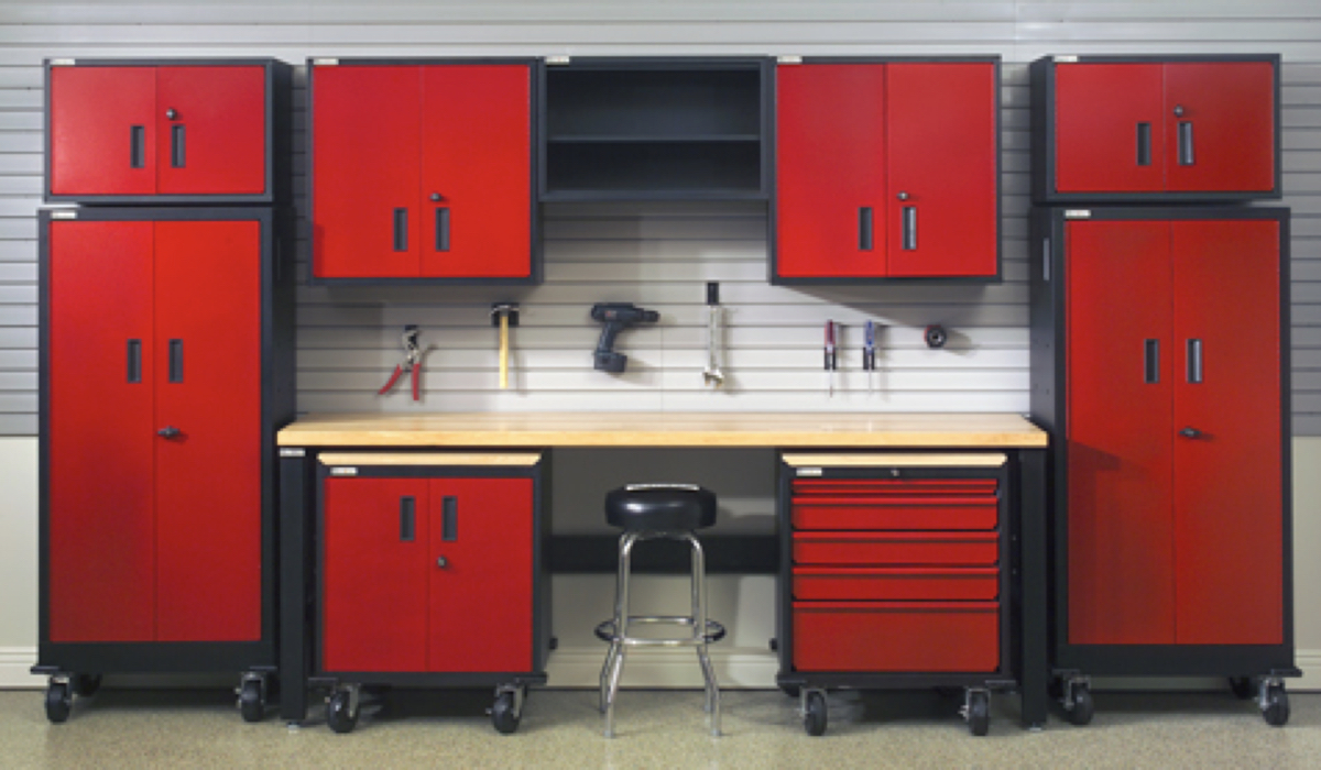 red color cabinets